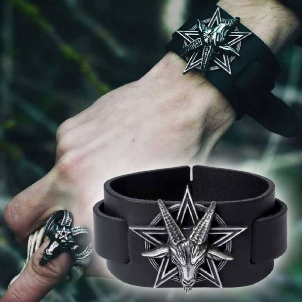 Alchemy Gothic Baphomet Leather Wriststrap